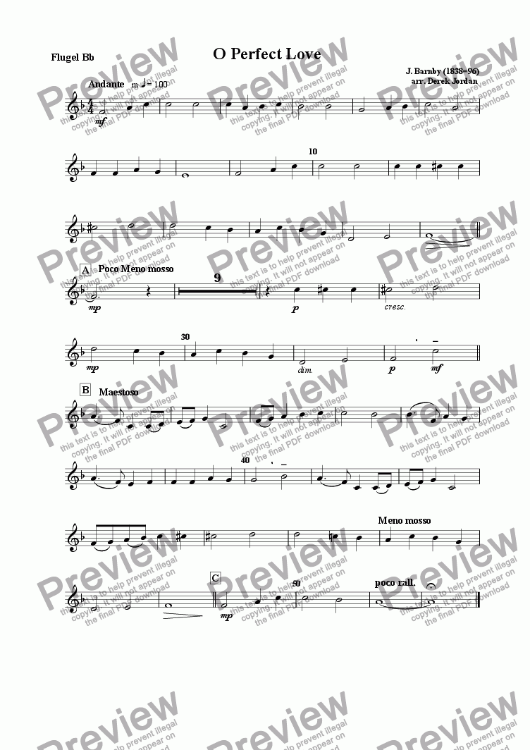 page one of the Flugel Horn  Bb part from O Perfect Love