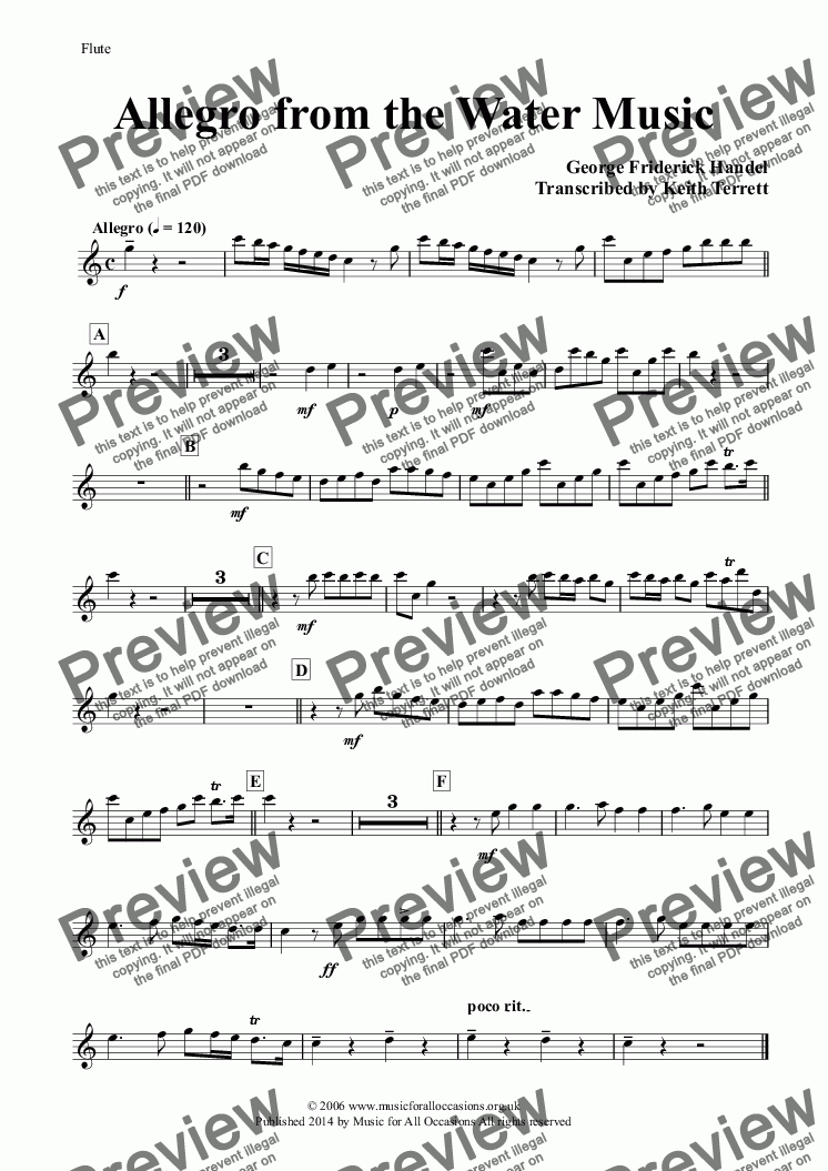 page one of the Flute part from Allegro from the Water Music for a Quartet of Oboes & Bassoons