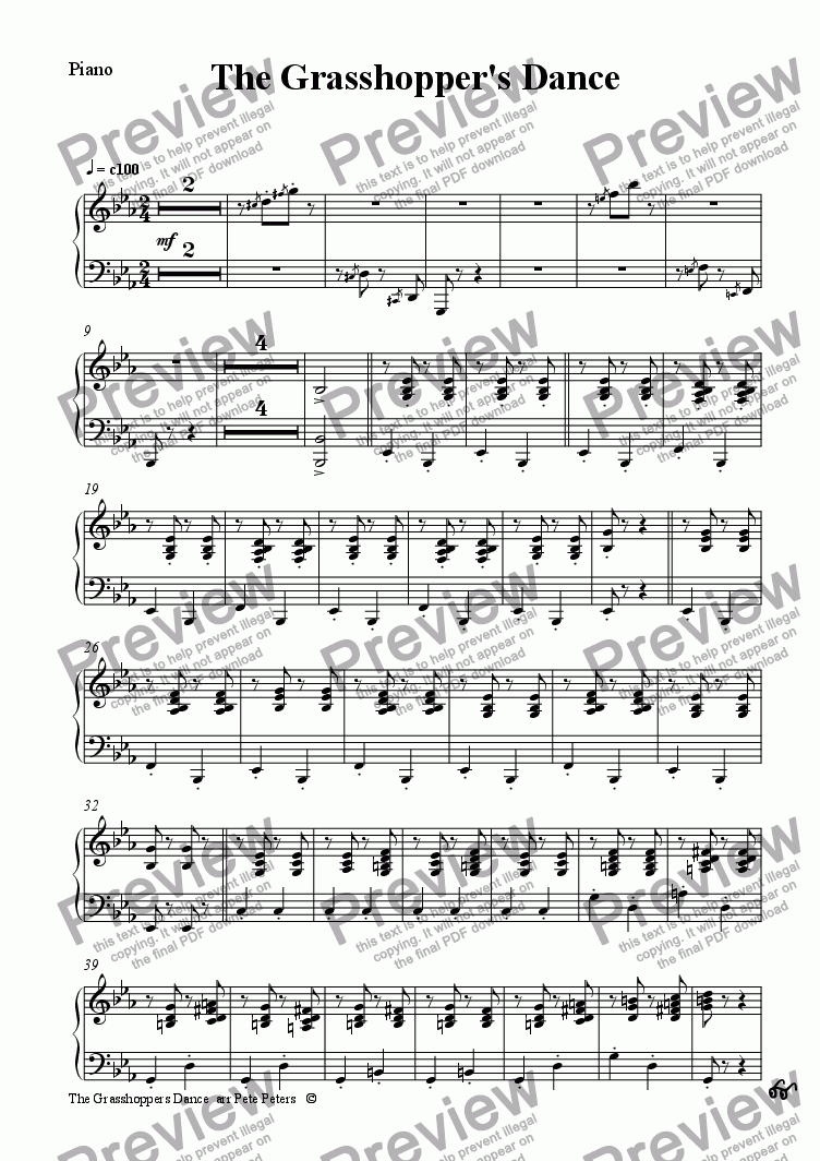 page one of the Piano part from The Grasshopper's Dance [rec or flute 4tet+pno]