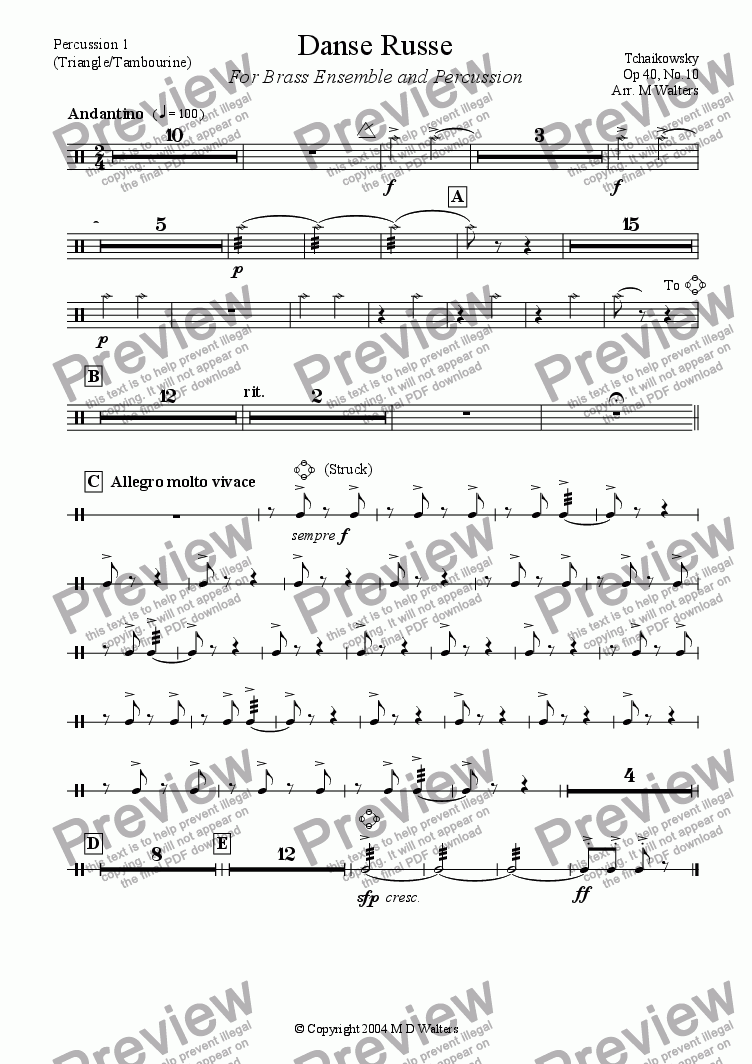 page one of the Percussion 1 part from Danse Russe