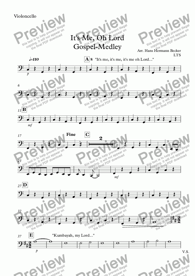 page one of the Violoncello part from It's Me, Oh Lord Gospel-Medley