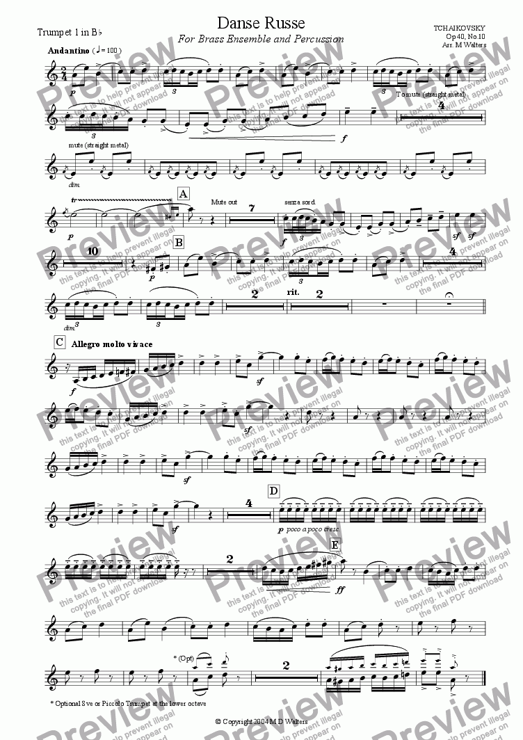 page one of the Trumpet 1 part from Danse Russe