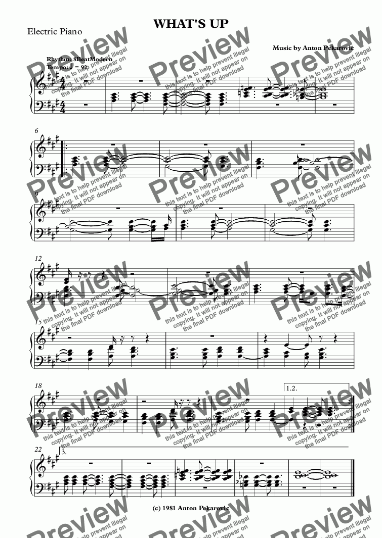 page one of the Electric Piano part from WHAT'S UP