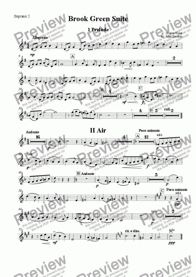 page one of the Soprano 2 part from Holst: Brook Green Suite