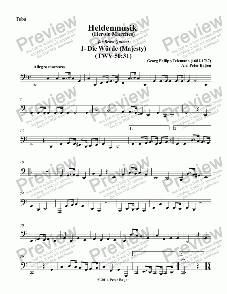 page one of the Tuba part from Heldenmusik 1-12 for brass Quintet