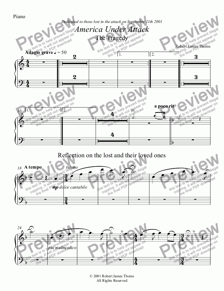 page one of the Piano part from      America Under Attack