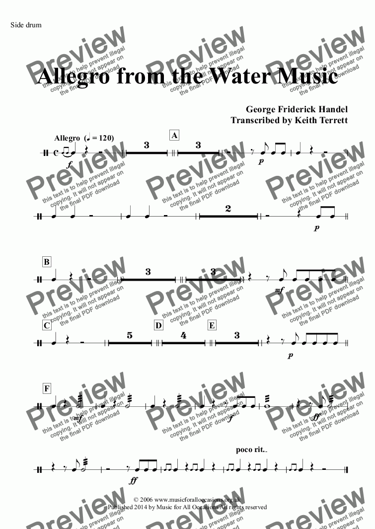 page one of the Side drum part from Allegro from the Water Music for Two C Trumpets, Two French Horns & Concert Band
