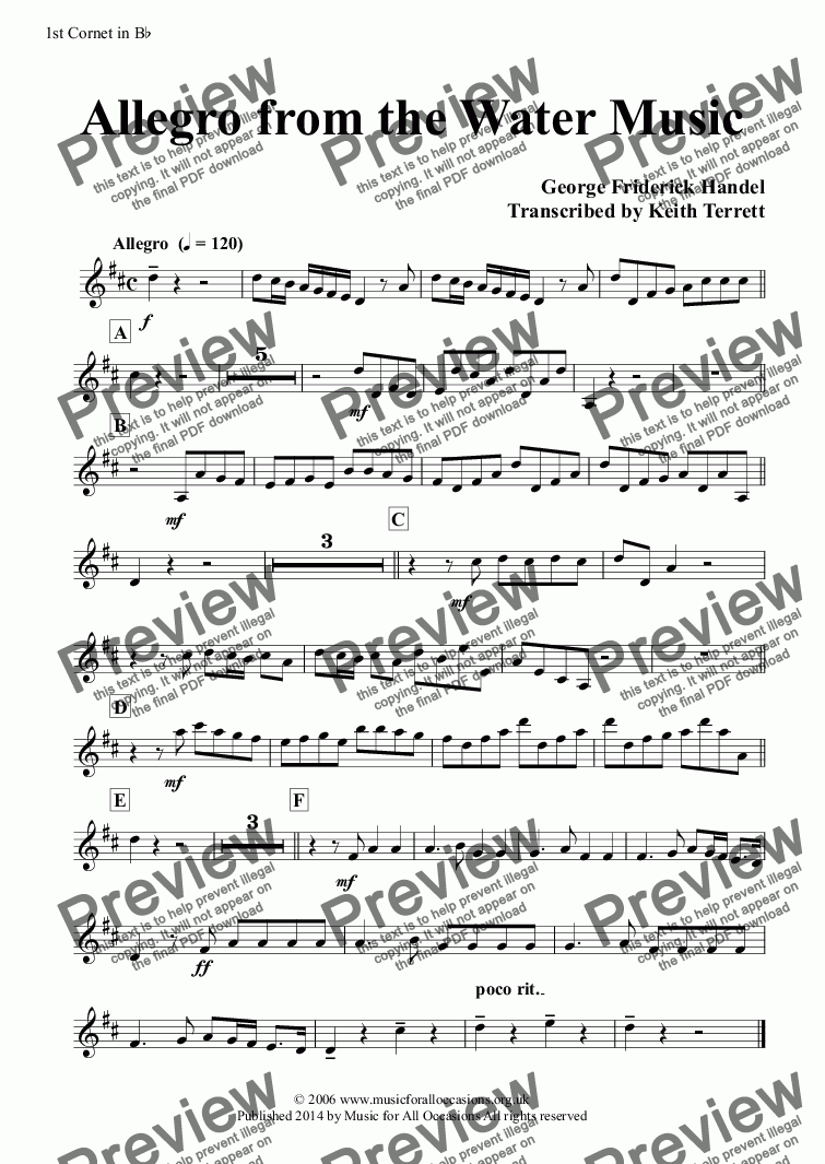 page one of the 1st Cornet in B^b part from Allegro from the Water Music for Two C Trumpets, Two French Horns & Concert Band