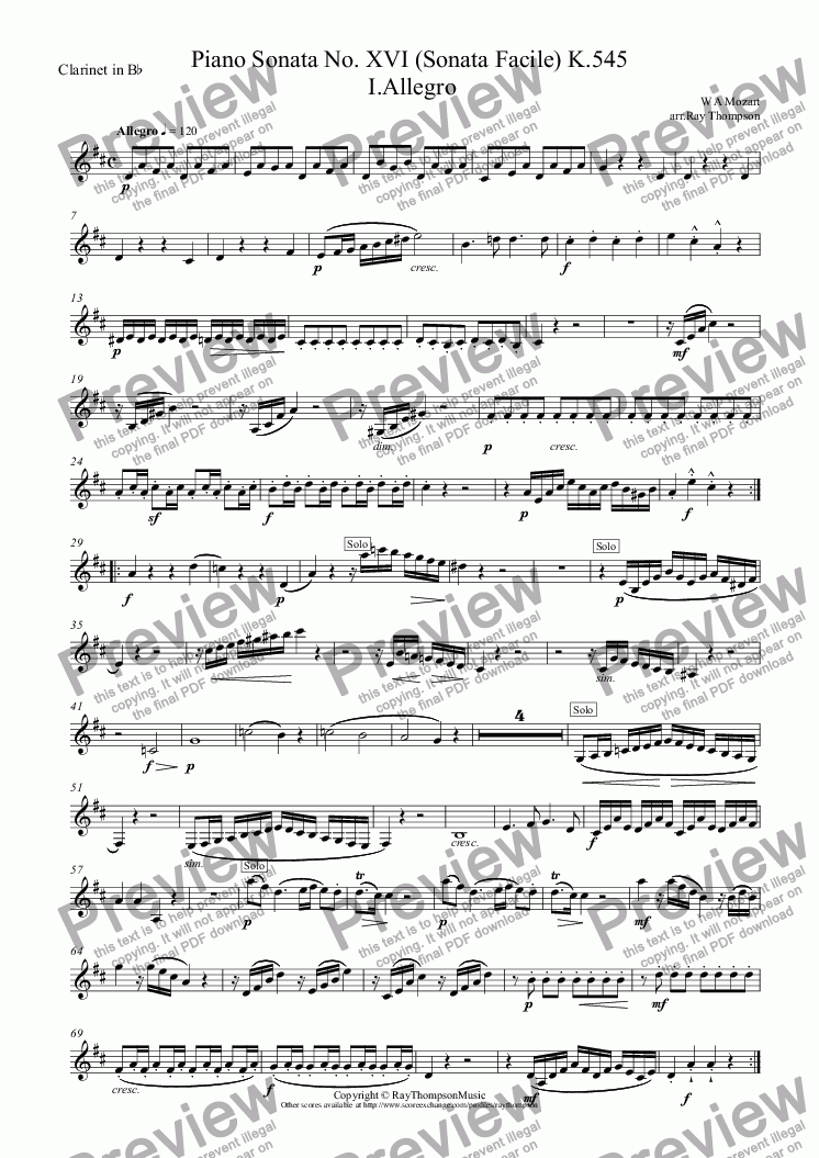 page one of the Clarinet in B^b part from Mozart: Piano Sonata No.16 in C K.545 (Sonata facile/semplice) Mvt.I I.Allegro arr.wind quintet