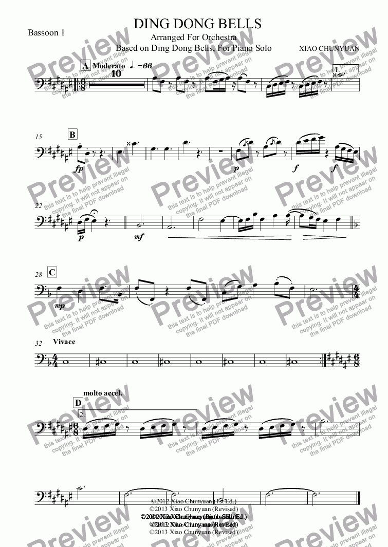 page one of the Bassoon 1 part from Ding Dong Bells!