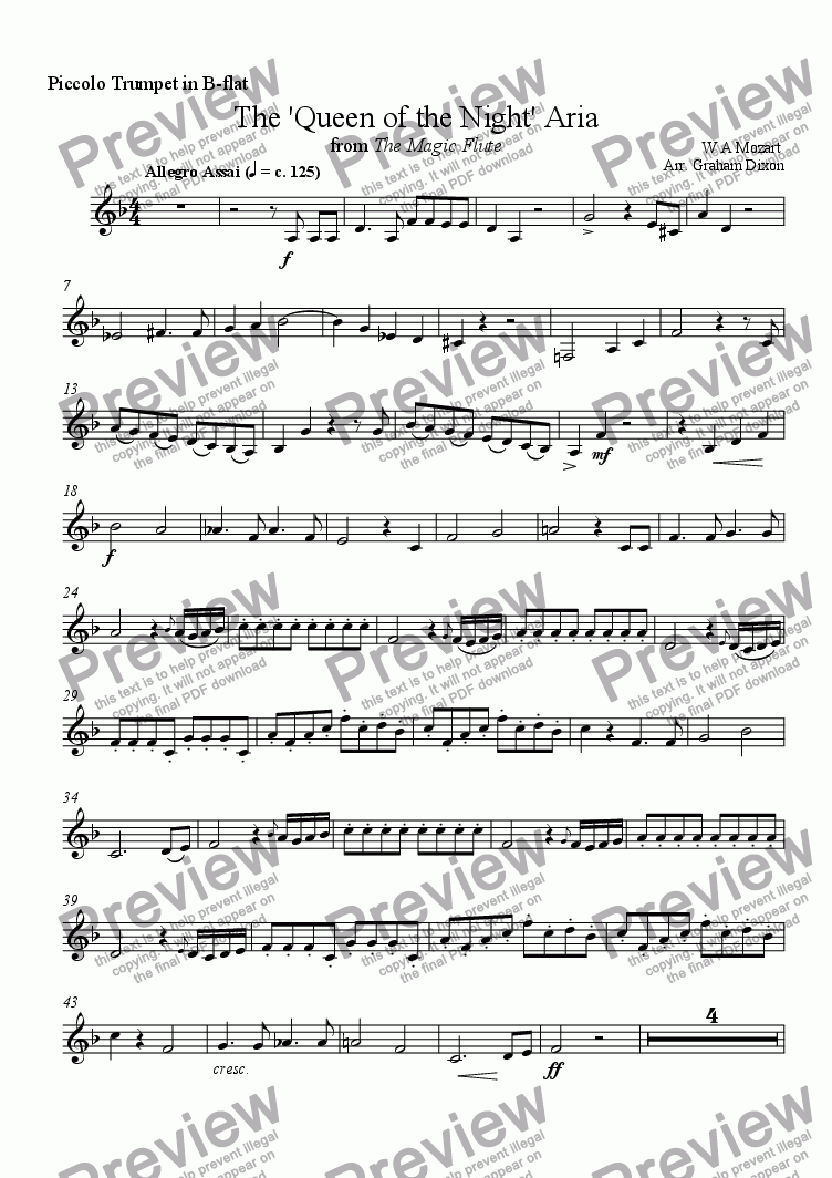 page one of the Piccolo Trumpet part from 'Queen of the Night Aria' for Brass Quintet