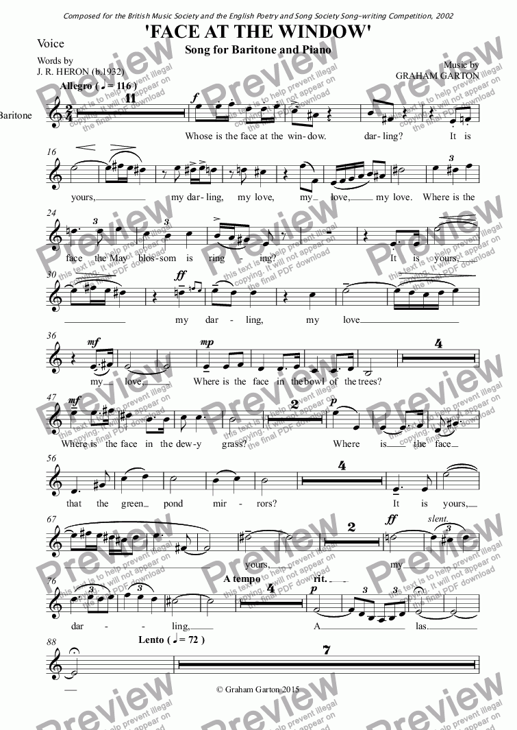 page one of the Voice part from SONG - 'FACE AT THE WINDOW' for Baritone and Piano - Words. J. R. Heron