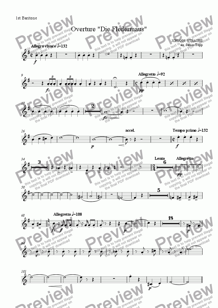 "page one of the 1st Baritone part from Overture ""Die Fledermaus"""