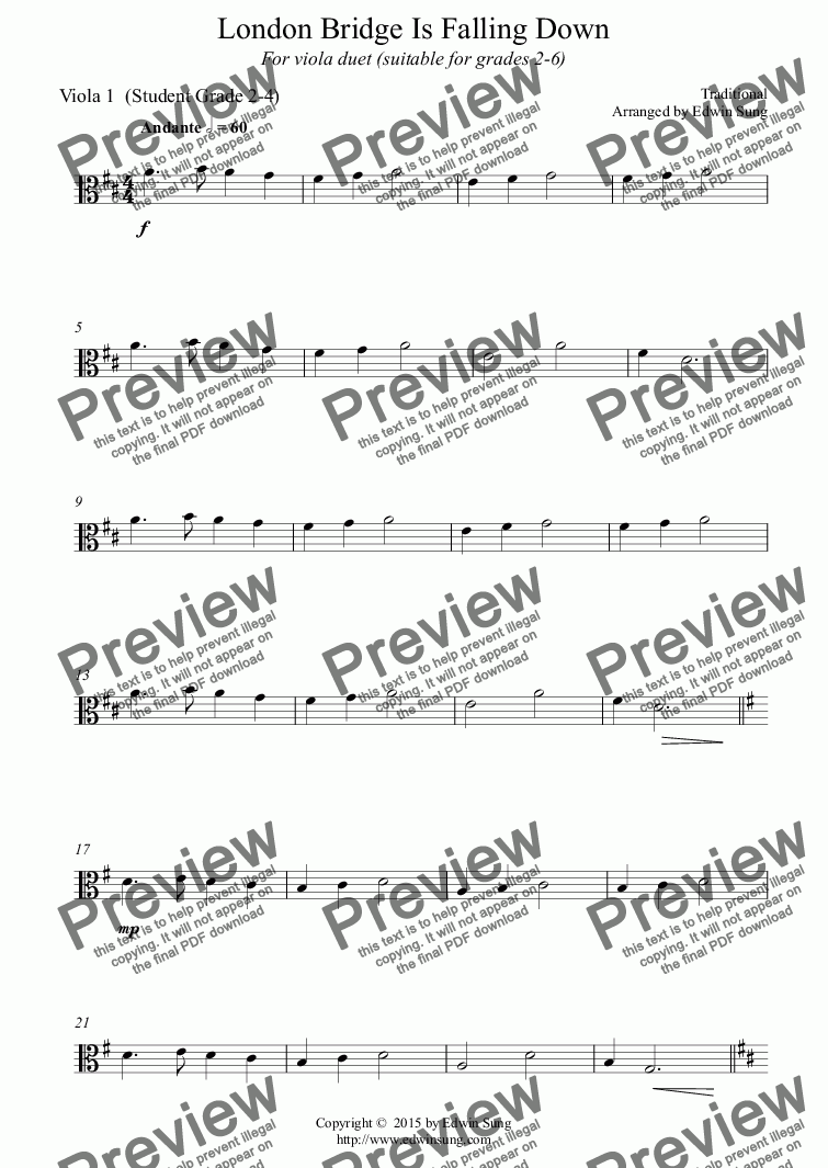 page one of the Viola 1  (Student Grade 2-4) part from London Bridge Is Falling Down (for viola duet, suitable for grades 2-6) (151VADU02)