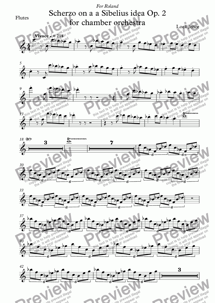 page one of the Flutes part from Scherzo on a a Sibelius idea Op. 2 for chamber orchestra