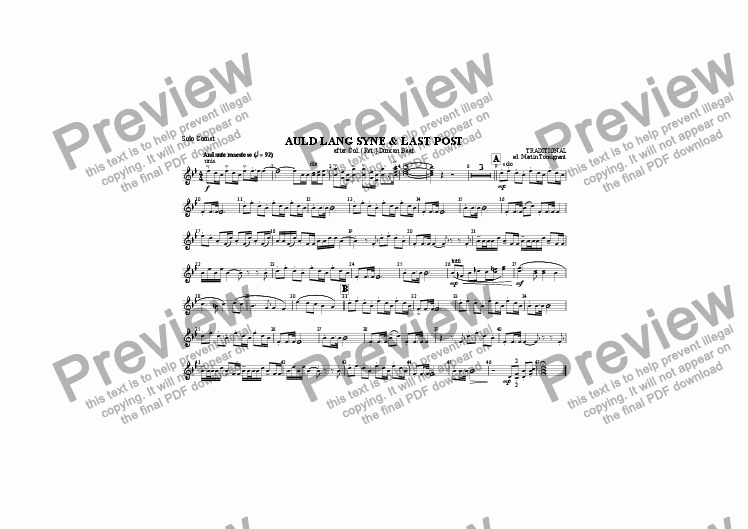 page one of the Solo Cornet part from Auld Lang Syne/Last Post (Brass Band)
