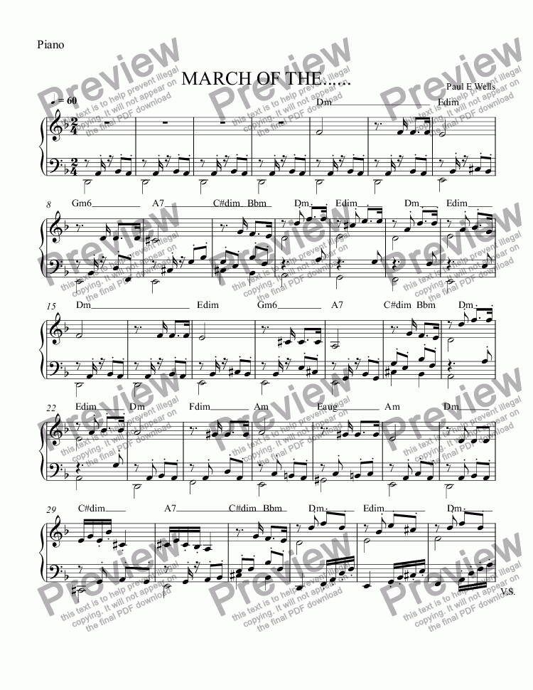 page one of the Piano part from March of the Four Horsemen