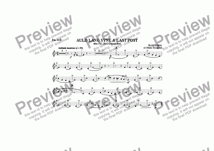 page one of the Eb Bass part from Auld Lang Syne/Last Post (Brass Band)