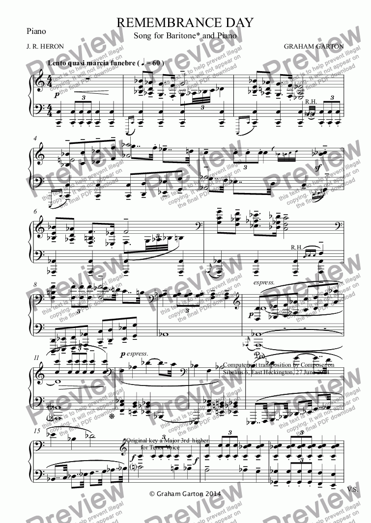 page one of the Piano part from SONG - 'REMEMBRANCE DAY' for Baritone and Piano (Low Key) - Words: J. R. Heron Re WW I & II