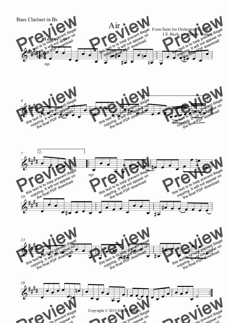 page one of the Bass Clarinet in B^b part from Air in D by J.S. Bach for Clarinet Quartet