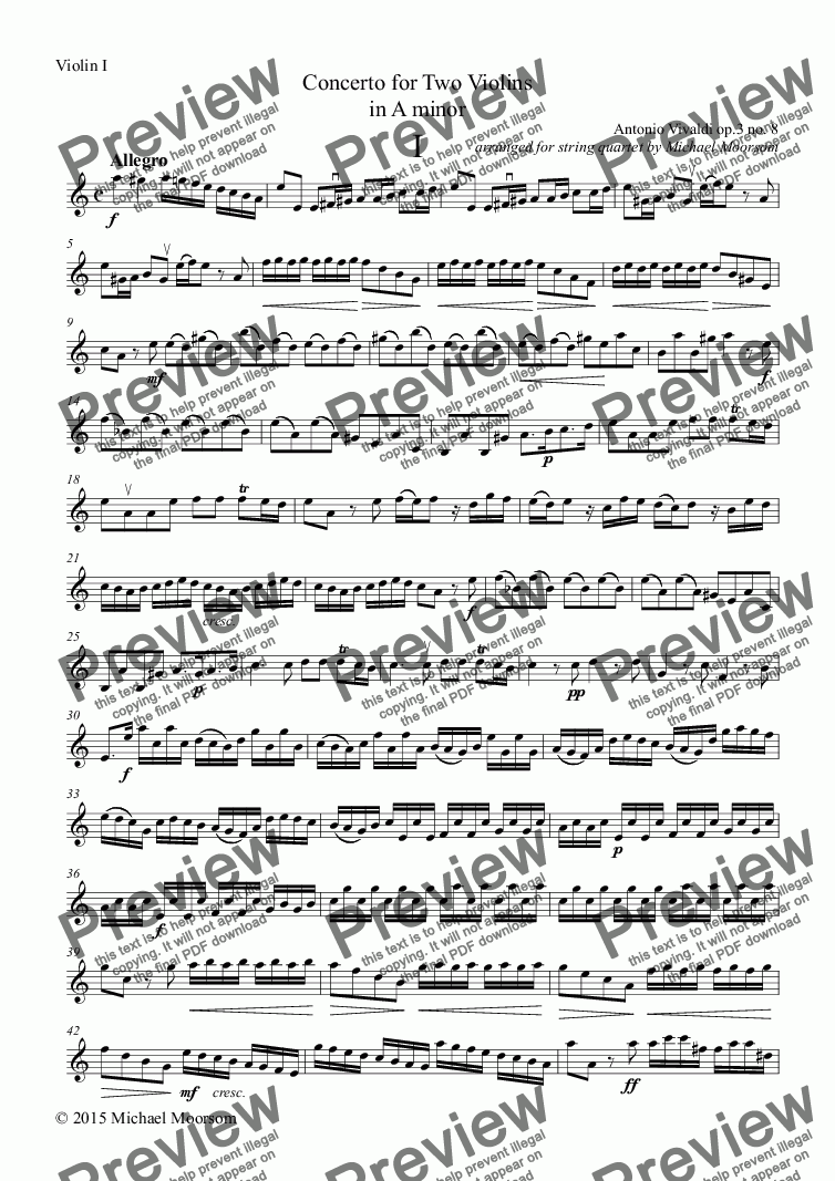 page one of the Violin I part from Concerto for Two Violins in A minor