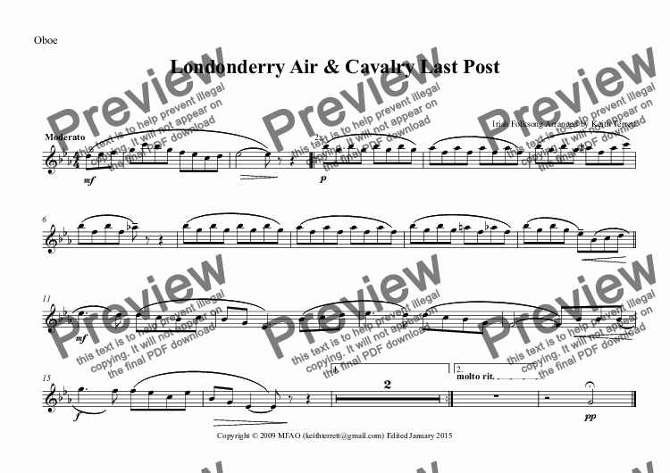 page one of the Oboe part from Londonderry Air & Cavalry Last Post for solo Eb Cavalry Trumpet & Concert Band