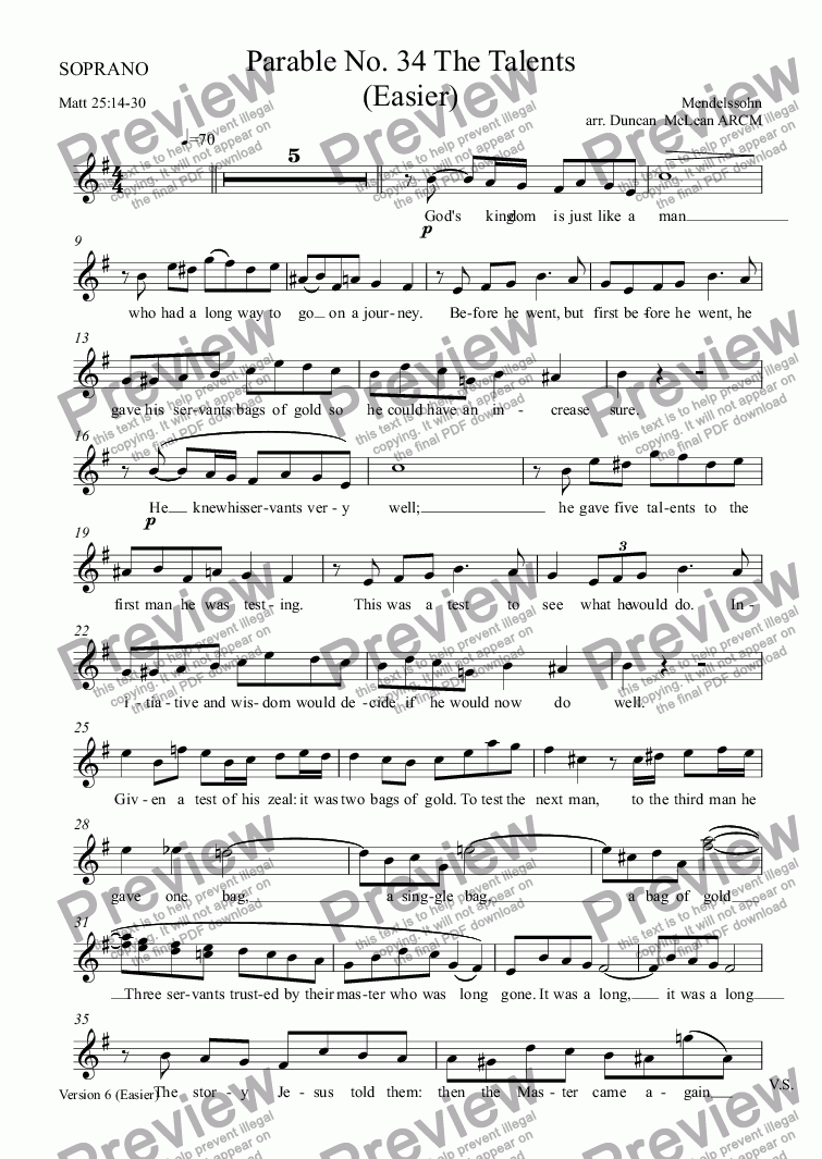 page one of the SOPRANO part from Parable No. 34 The Talents (Easier) [print up to 30]