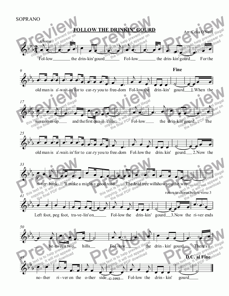 page one of the SOPRANO part from FOLLOW THE DRINKIN' GOURD