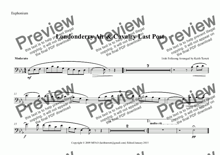 page one of the Euphonium part from Londonderry Air for Concert/Wind Band