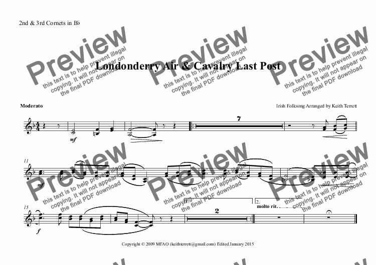 page one of the 2nd & 3rd Cornets in B^b part from Londonderry Air for Concert/Wind Band