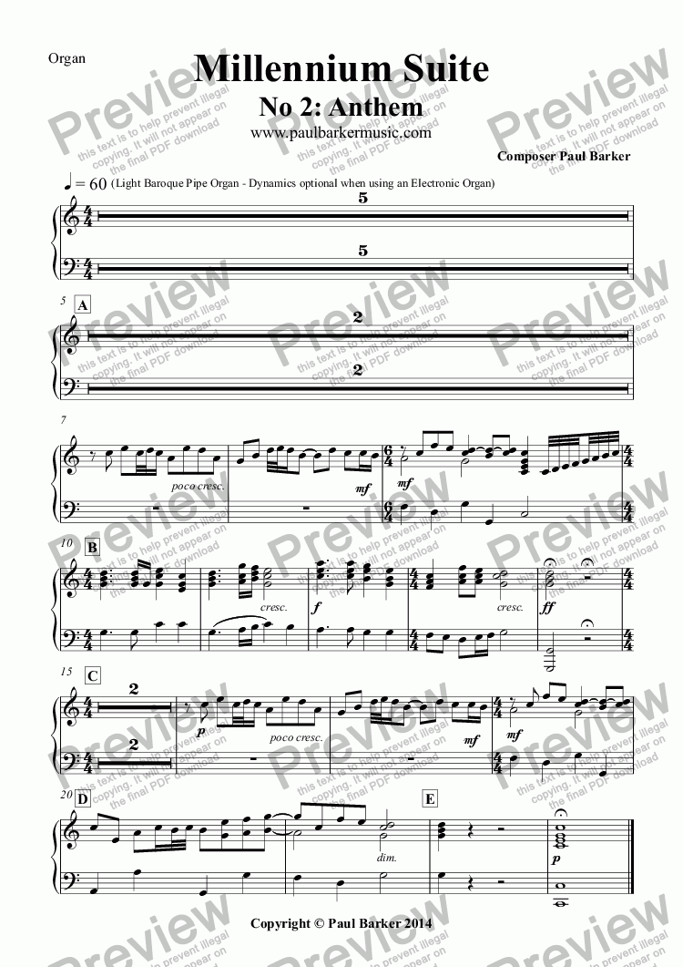 page one of the Organ part from Millennium Suite No 2: Anthem