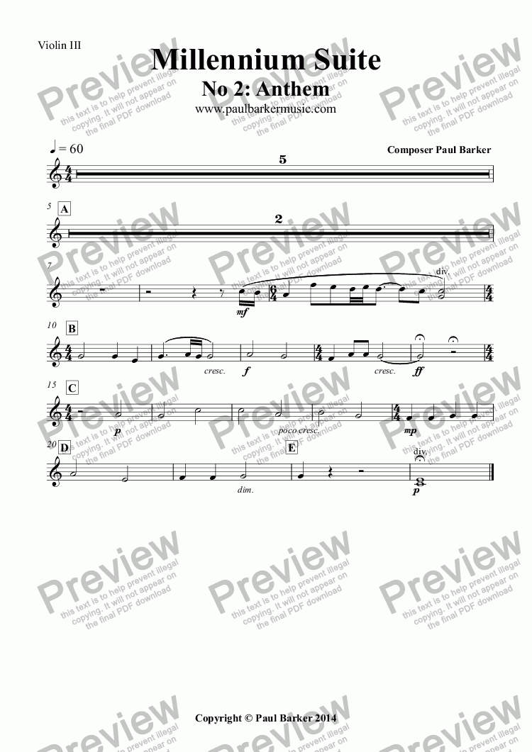 page one of the Violin III part from Millennium Suite No 2: Anthem