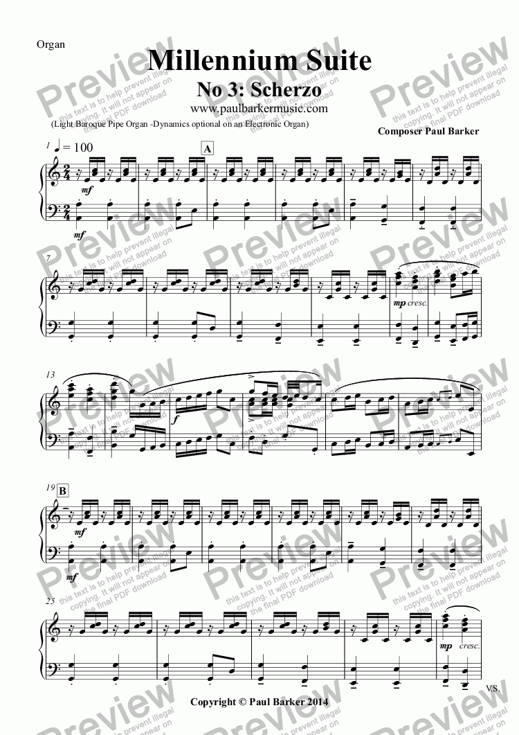 page one of the Organ part from Millennium Suite No 3: Scherzo