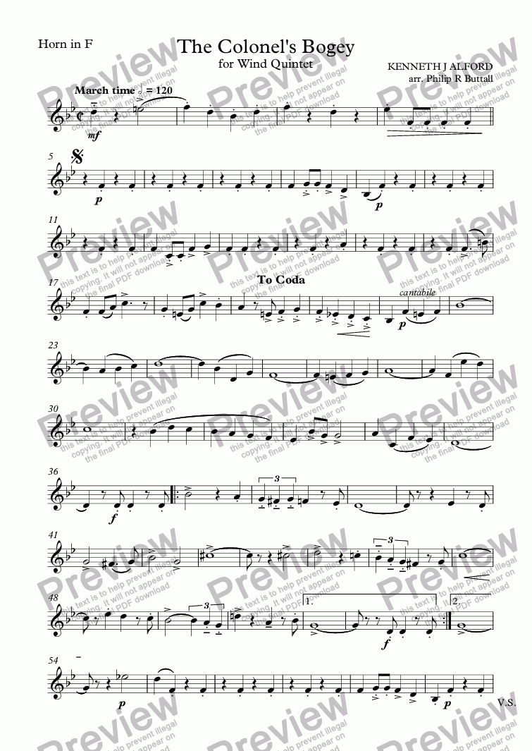 page one of the Horn in F part from The Colonel's Bogey (Wind Quintet)