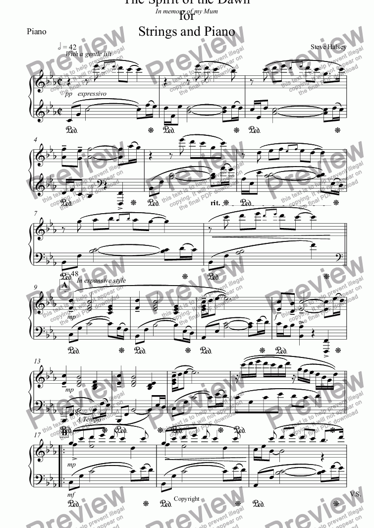 page one of the Piano part from The Spirit of the Dawn for  Strings and Piano