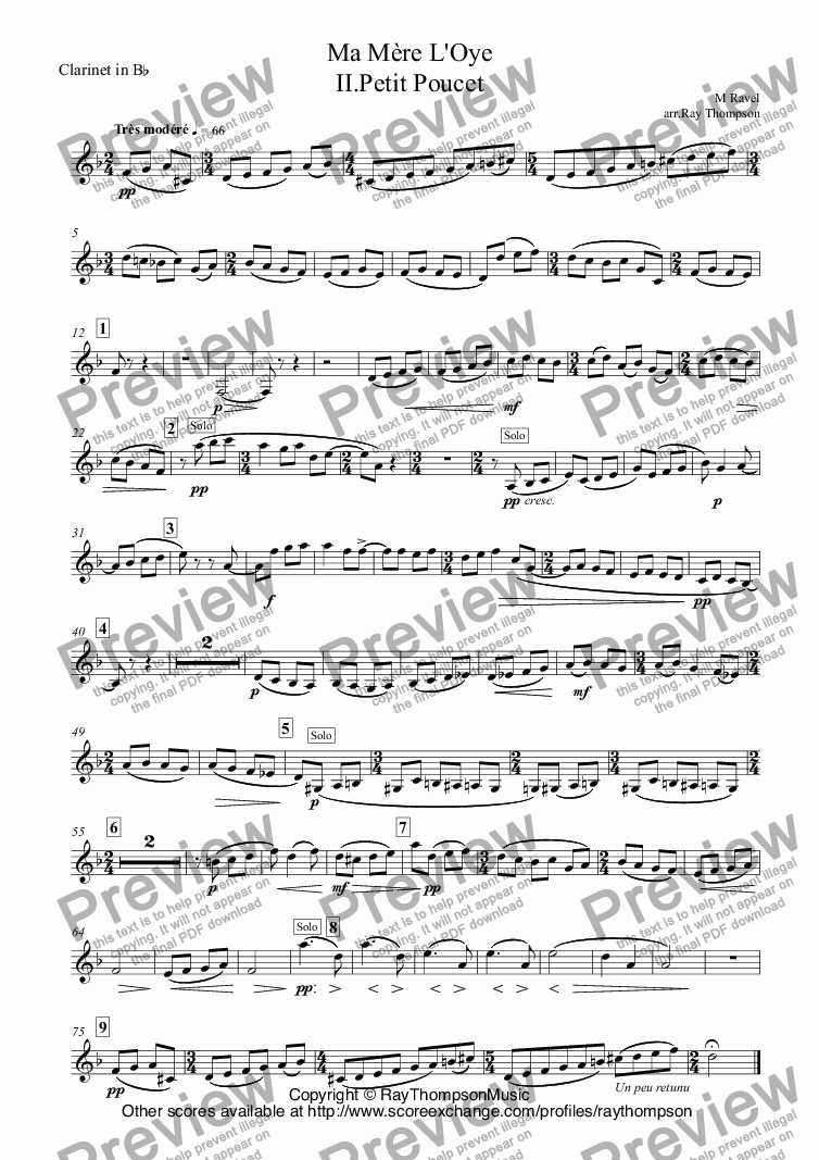 page one of the Clarinet in B^b part from Ravel: Ma Mère L'Oye (Mother Goose Suite) II.Petit Poucet (Tom Thumb) arr.wind quintet