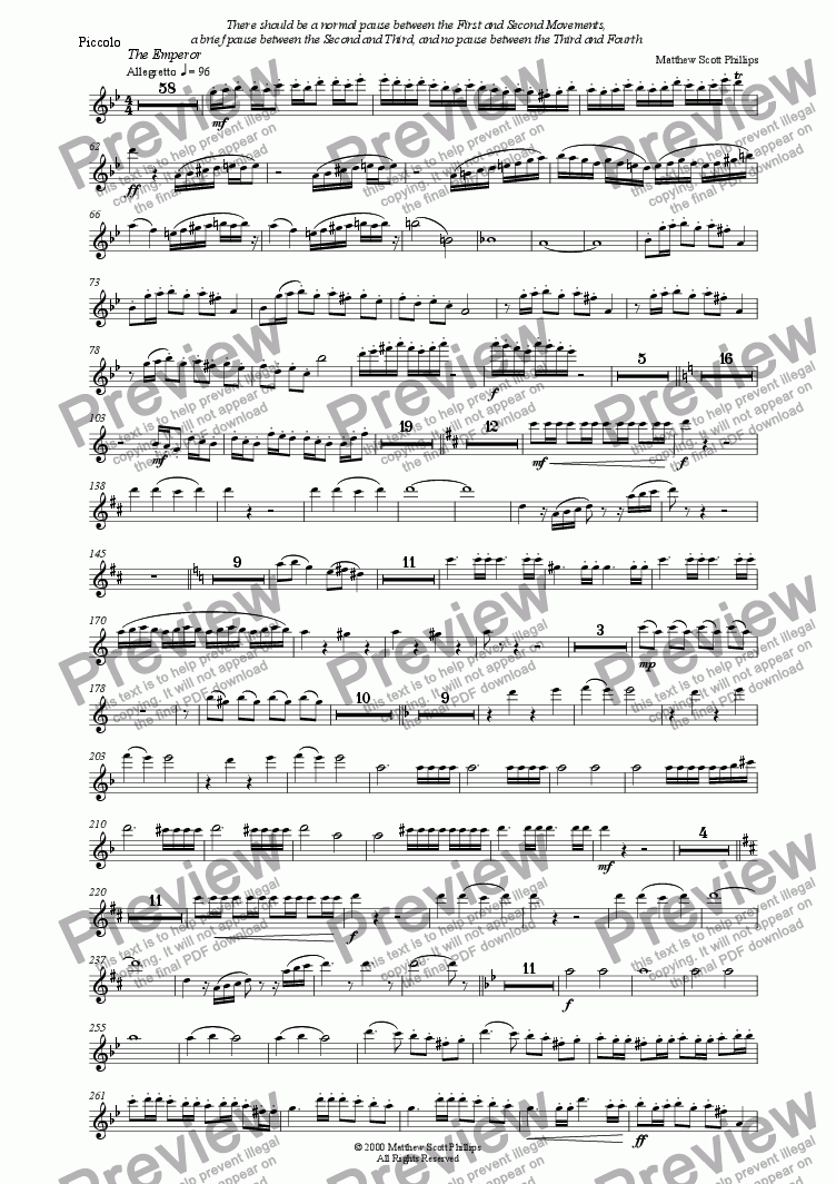 "page one of the Piccolo part from Symphony No.2 ""Empire"""