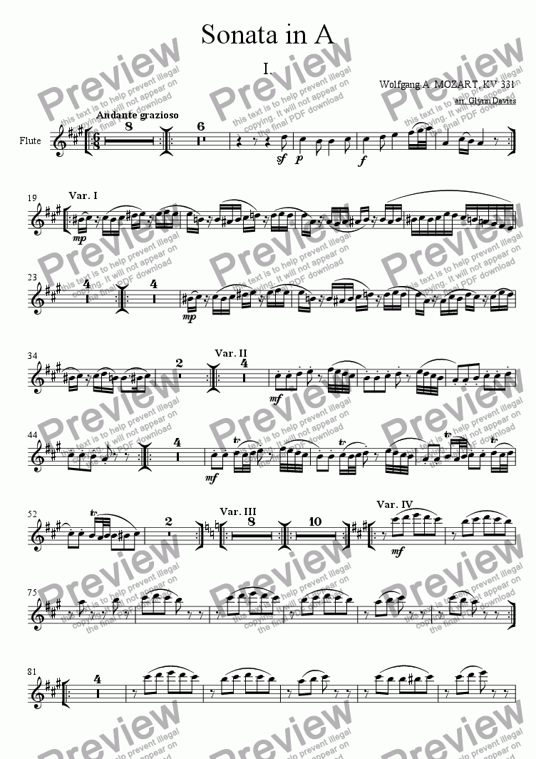 page one of the Flute part from Sonata in A, KV 331 - 1. Andante grazioso (Theme and variations)
