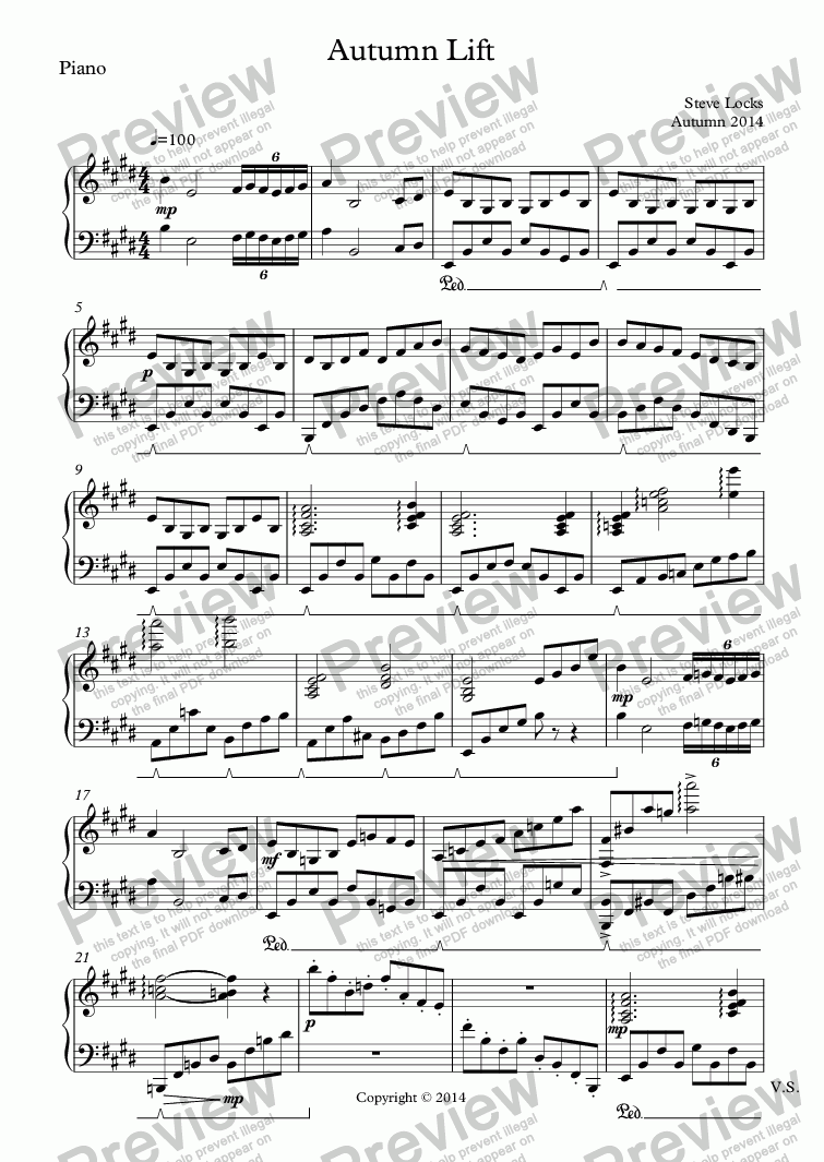 page one of the Piano part from Autumn Lift