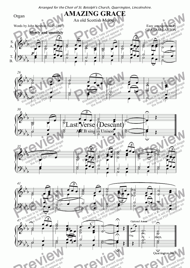 page one of the Organ part from HYMN - 'AMAZING GRACE' Easy arrangement with Descant for CHOIR SATB and Organ for Wedding use. (See also under DESCANT)