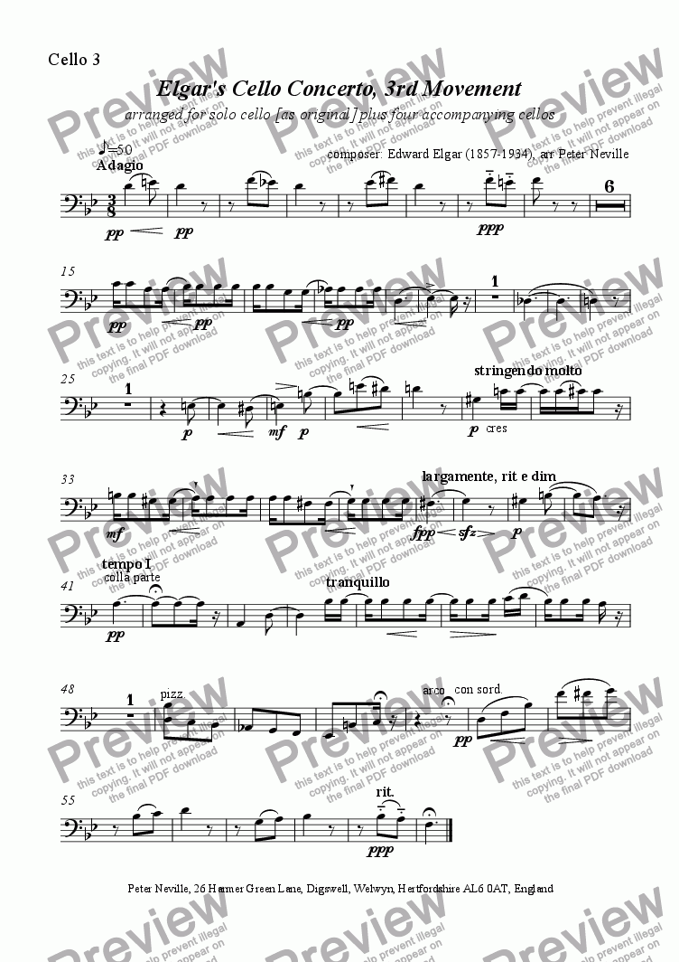 page one of the Cello 3 part from Elgar's Cello Concerto Slow Movement arrangement
