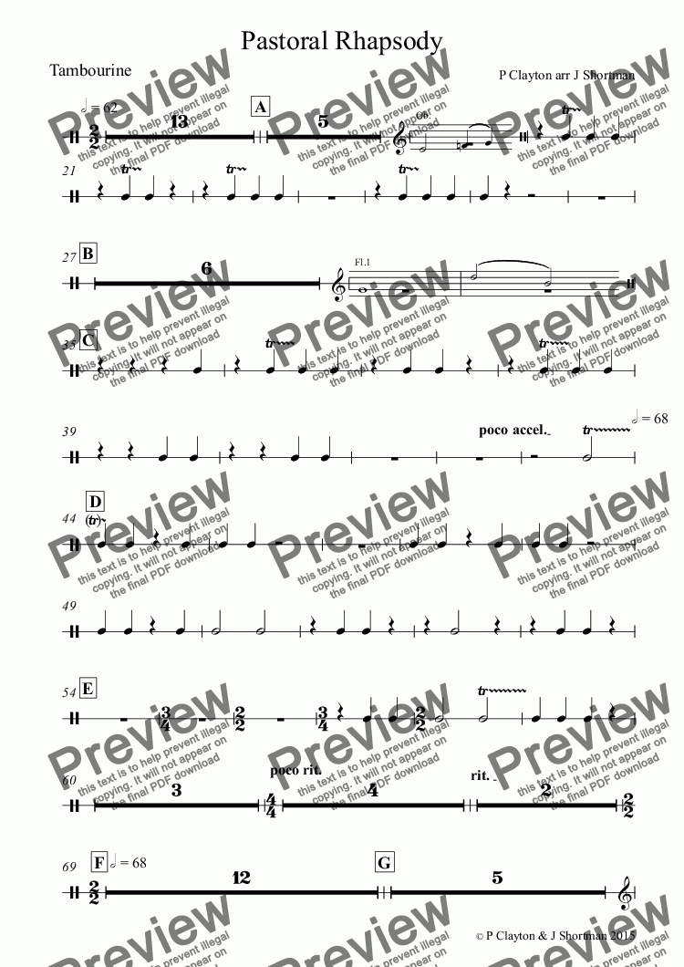 page one of the Tambourine part from Pastoral Rhapsody - arrangement for training orchestra (previously free)
