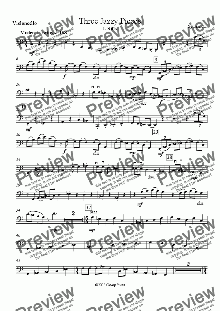 page one of the cello part from Three Jazzy Pieces for Flute, Clarinet and Cello