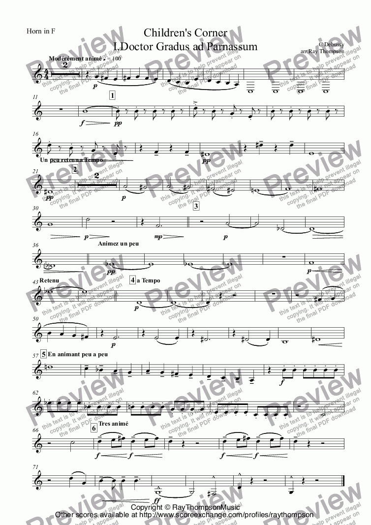 page one of the Horn in F part from Debussy: A Selection of Pieces from Children's Corner 1. Doctor Gradus ad Parnassum 2.Jimbo's Lullaby 3. Serenade of the Doll 5.The little shepherd 6.Golliwogg's Cake Walk. arr. wind quintet