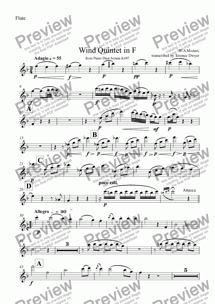 page one of the Flute part from Wind Quintet in F