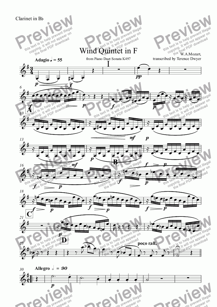 page one of the Clarinet in B^b part from Wind Quintet in F