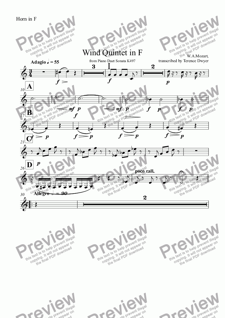 page one of the Horn in F part from Wind Quintet in F