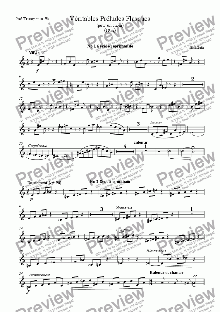 page one of the Trumpet2 part from Veritable Preludes Flasques for Brass Quintet
