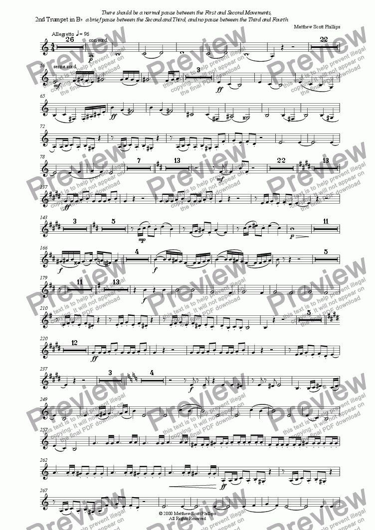 "page one of the 2nd Trumpet in Bb part from Symphony No.2 ""Empire"""