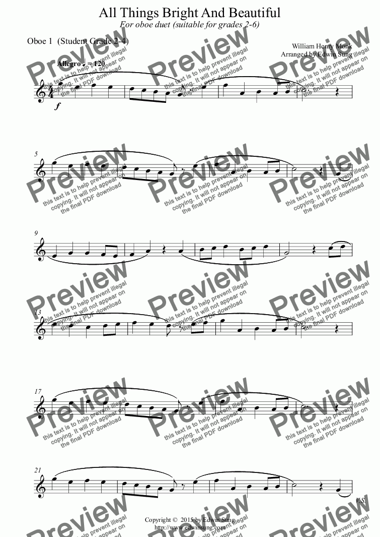 page one of the Oboe 1  (Student Grade 2-4) part from All Things Bright And Beautiful (for oboe duet, suitable for grades 2-6) (151OBDU01)